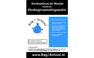 Bag2school kledinginzameling Kindcentrum De Wouter 2021